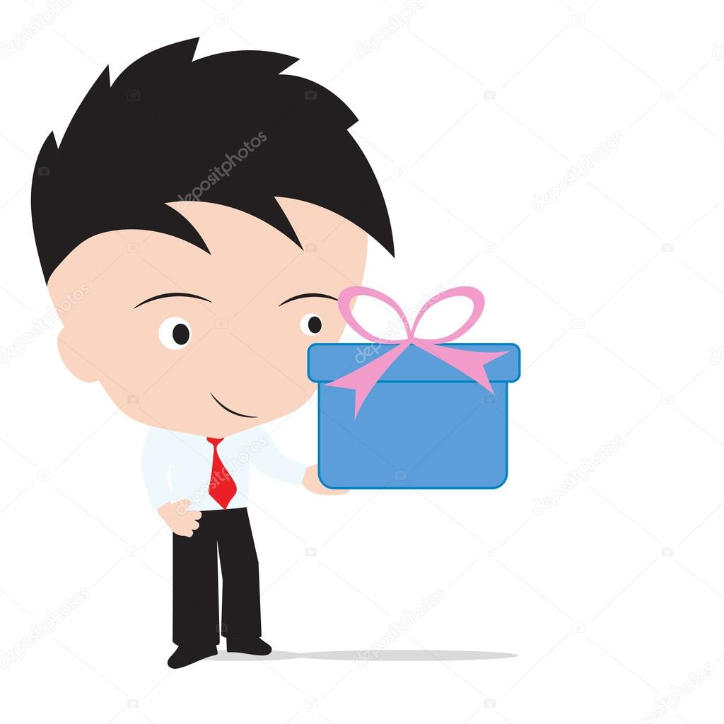 Businessman Holding The Gift Box For Happy New Year Christmas And Birthday Festival Isolated On White Background Stock Illustration