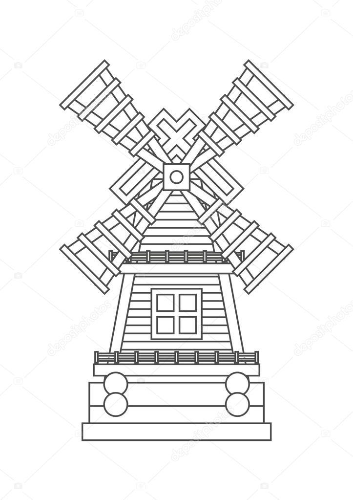 Icône De Moulin à Vent De Coloriage Image Vectorielle