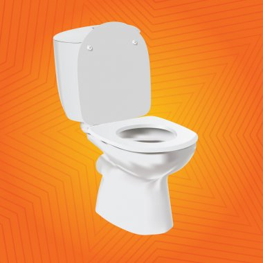 White vector toilet bowl on orange background. WC.