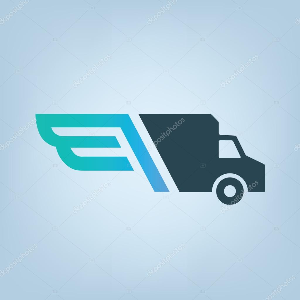 Delivery company logo  Wings logotype  Delivery car  — Stock