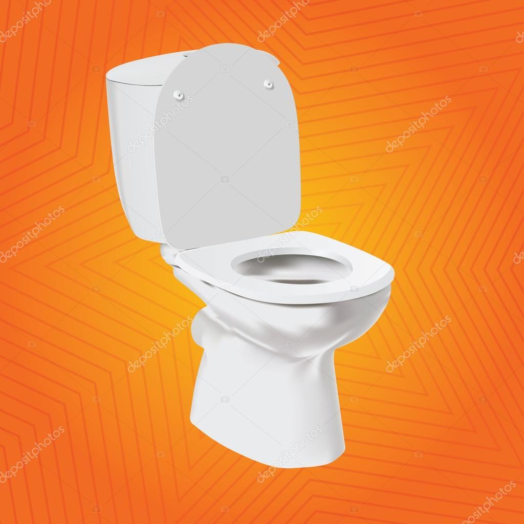 cuvette de toilette vecteur blanc sur fond orange wc. Black Bedroom Furniture Sets. Home Design Ideas