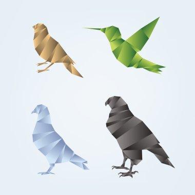 Set of origami birds