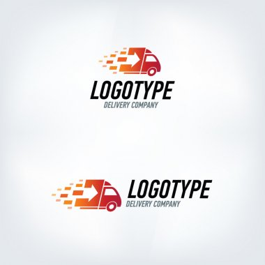 Delivery company logo. Rocket logotype. Fast delivery car.