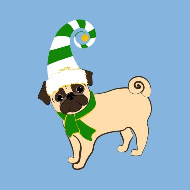 Pug dog in christmas costume vector illustration on the blue background. icon