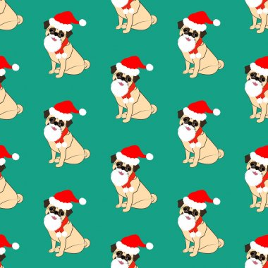 Pug in christmas costume seamless pattern on the green background. Vector illustration icon