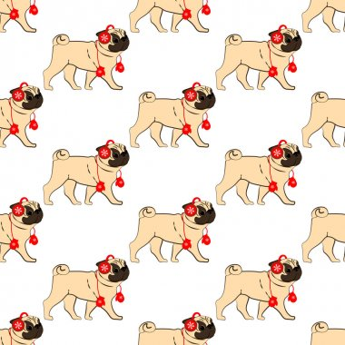 Pug in christmas costume seamless pattern on the white background. Vector illustration icon