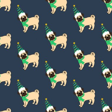 Pug in christmas costume seamless pattern on the blue background. Vector illustration icon