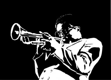JAZZ  man playing the trumpet, music vintage illustration, engraved retro style