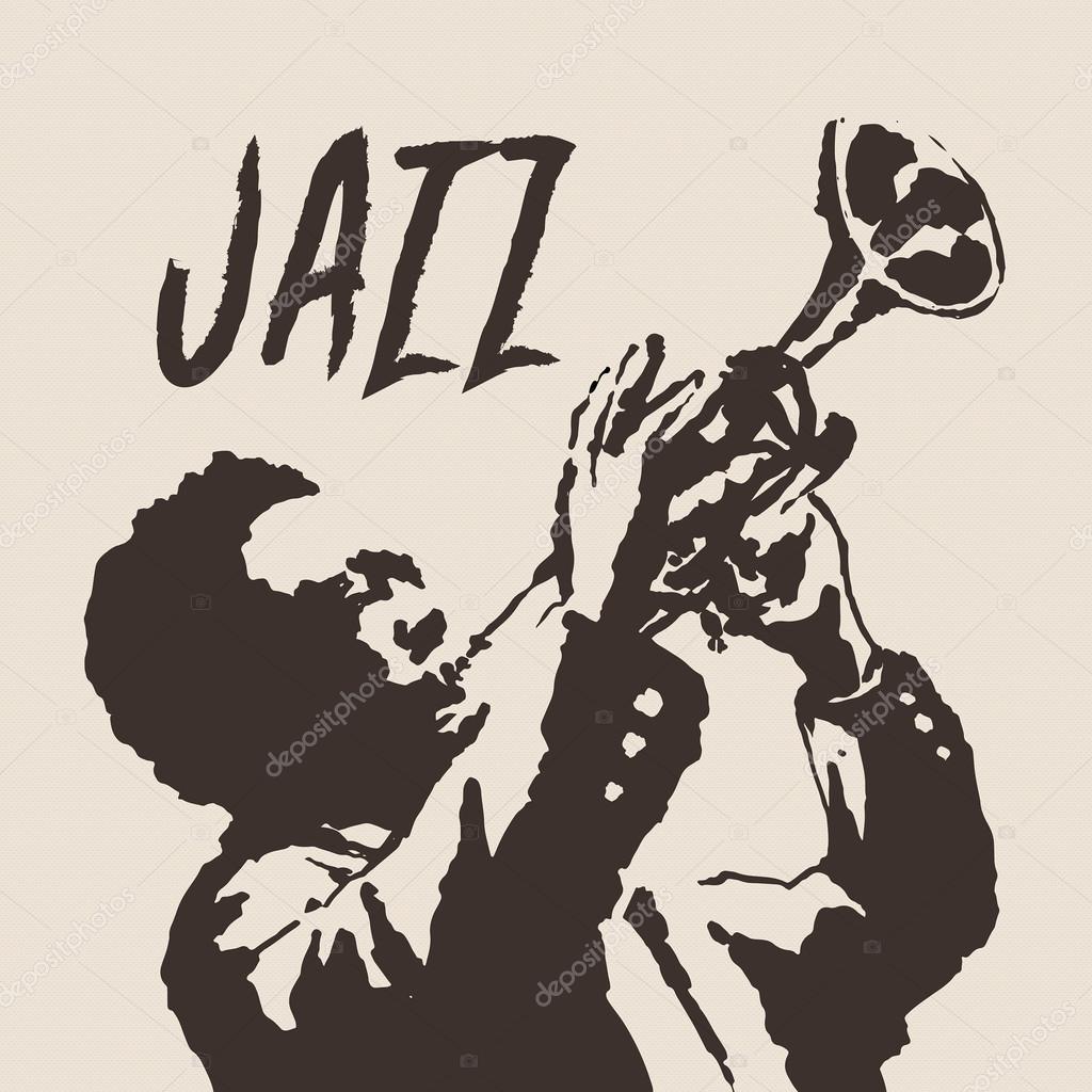 재즈 남자 음악 빈티지 그림, 트럼펫 연주 새겨진 복고풍 스타일 — 스톡 벡터 © auroomid ...