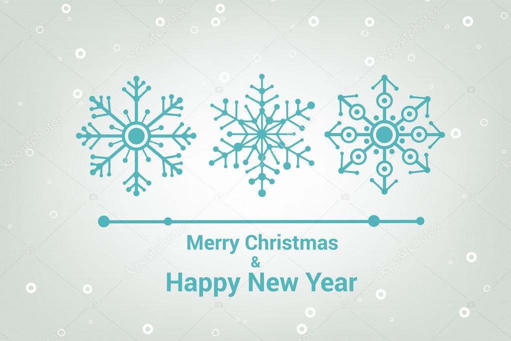 snowflakes merry christmas and happy new year line minimalist style greeting card beautiful
