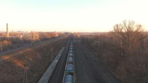 Aerial view of train moving along railway and shipping industrial goods. Drone flying for long locomotive with freight wagons passing countryside. Cargo transportation or delivery concept. Top view