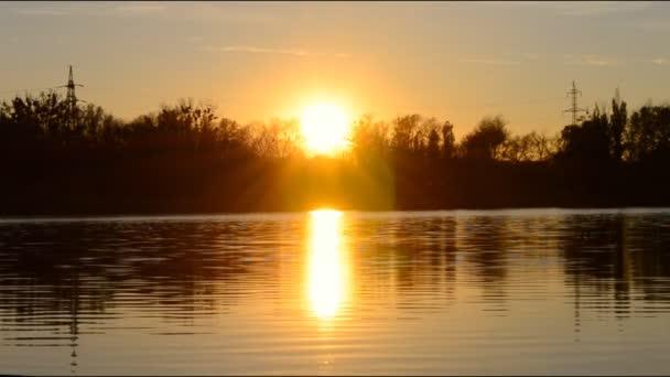 Sunrise on the lake, sunrise over river