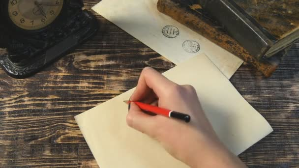 Woman write letter to friend on vintage background