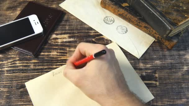 Man hand write letter on vintage background