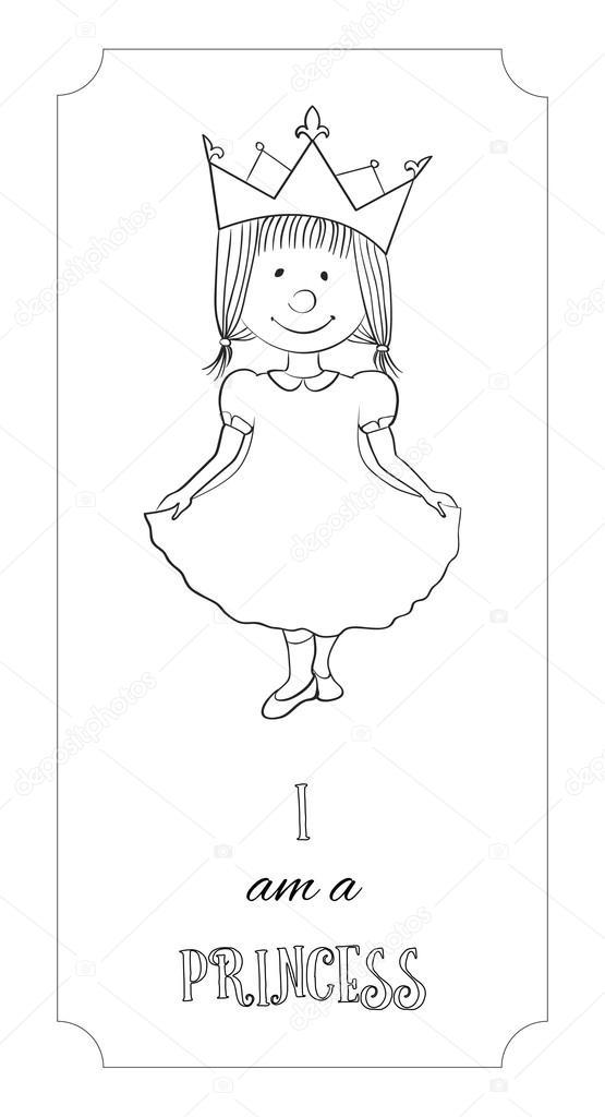 Tarjeta de contorno princesa dibujos animados de niños para colorear ...