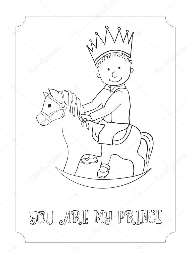 çocuk çizgi Film Anahat Prens Kart Boyama Stok Vektör O
