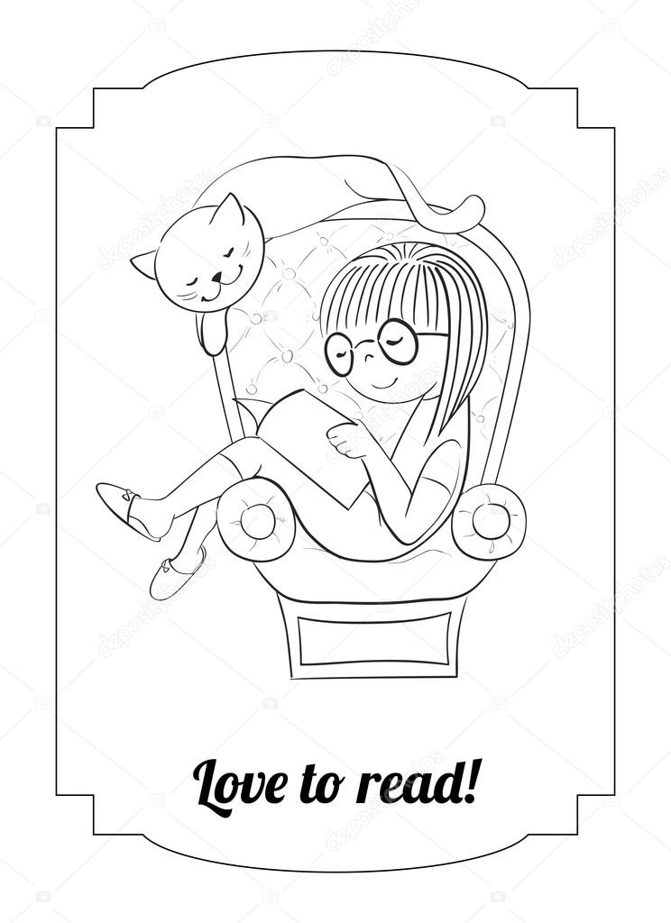 Vector de chica para colorear leyendo en un sillón — Archivo ...