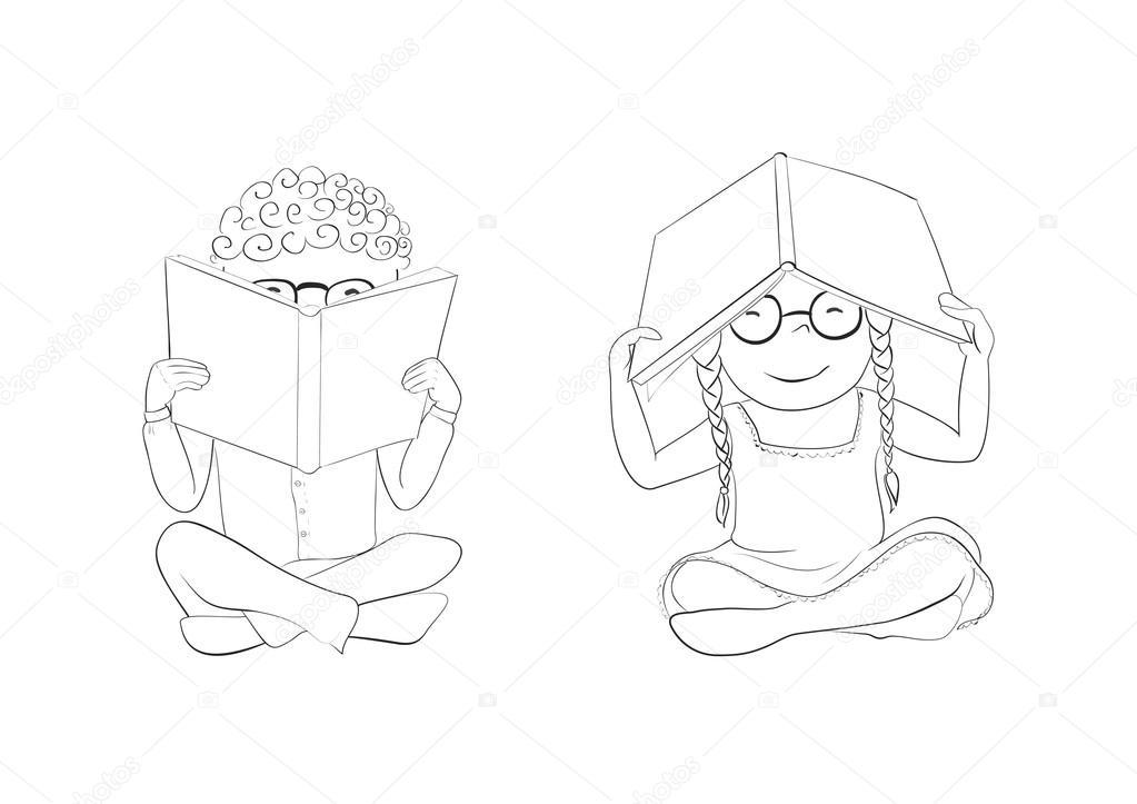 Esquema niños divertidos leyendo libros para colorear — Archivo ...