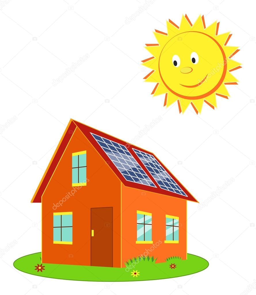 Casa con paneles solares y el vector de dibujos animados - Casas con placas solares ...