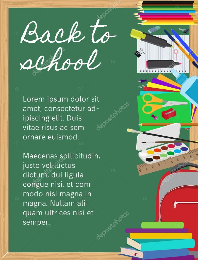 Fondo con material escolar en pizarra — Vector de stock © o ...