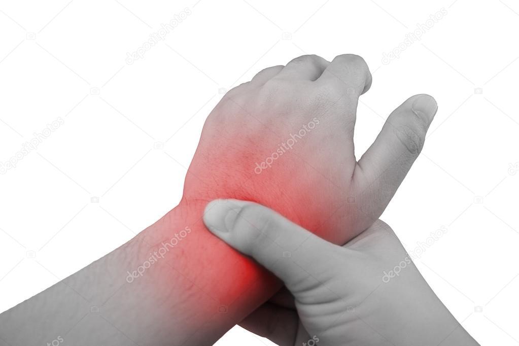 schmerzen in einem handgelenk haltende hand an stelle von schmerzen am handgelenk stockfoto. Black Bedroom Furniture Sets. Home Design Ideas
