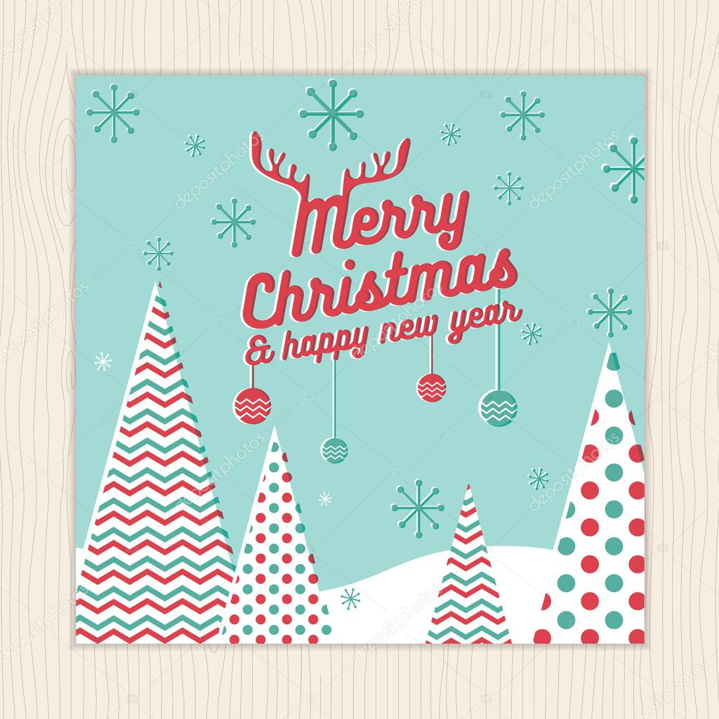 merry christmas happy new year card or poster template with christmas tree background vector