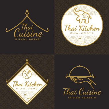Set of golden color Thai food logo, badges, banners, emblem for asian food restaurant with thai pattern. Vector illustration.
