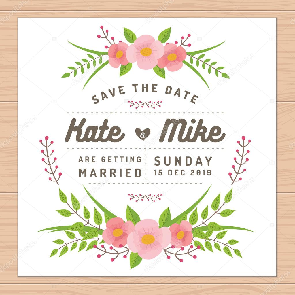 Save the date, wedding invitation card with flower