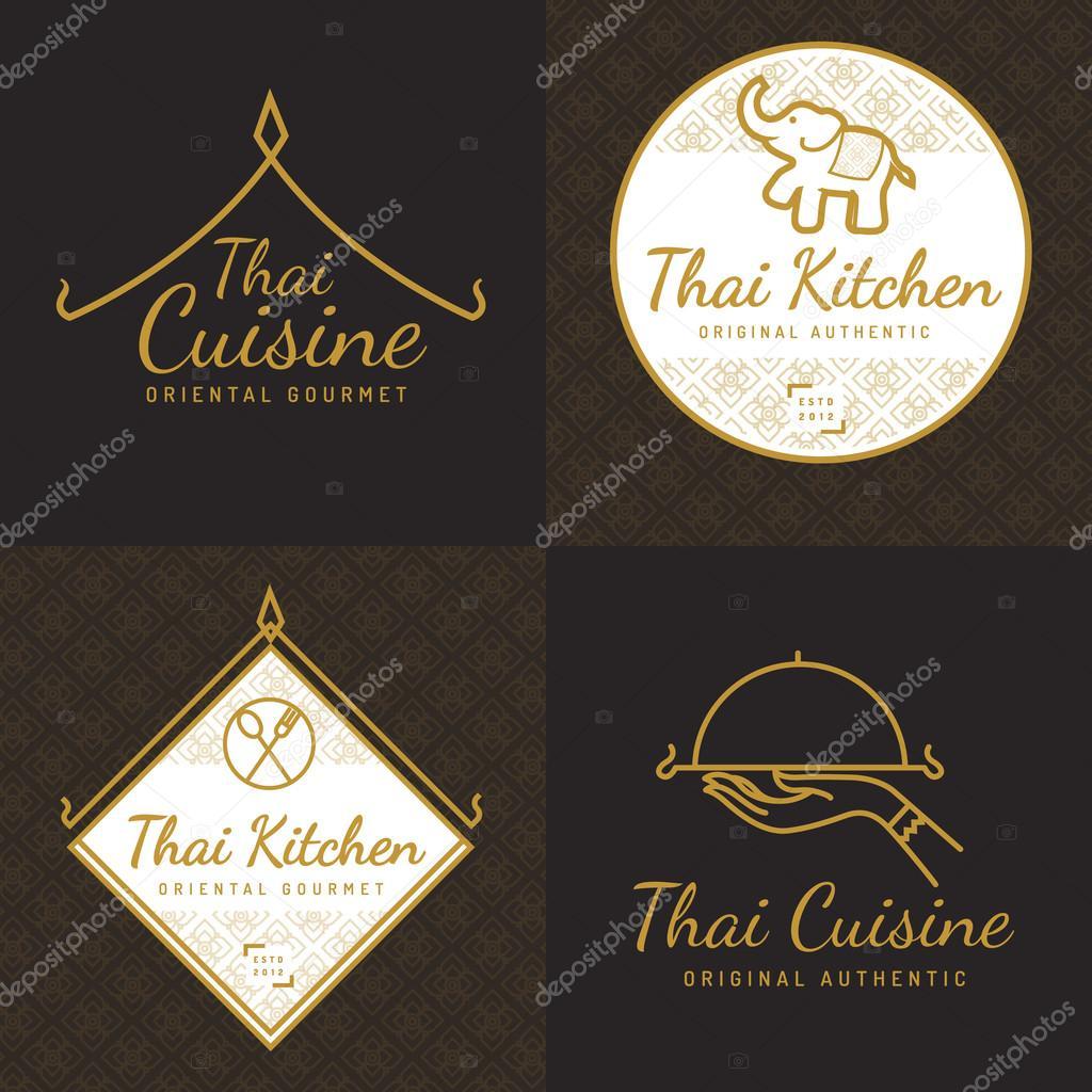Set of golden color Thai food logo, badges, banners, emblem for asian food restaurant with thai pattern. Vector illustration.