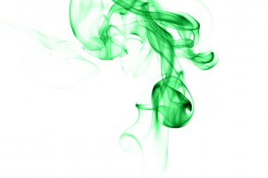 Abstract green smoke on white background
