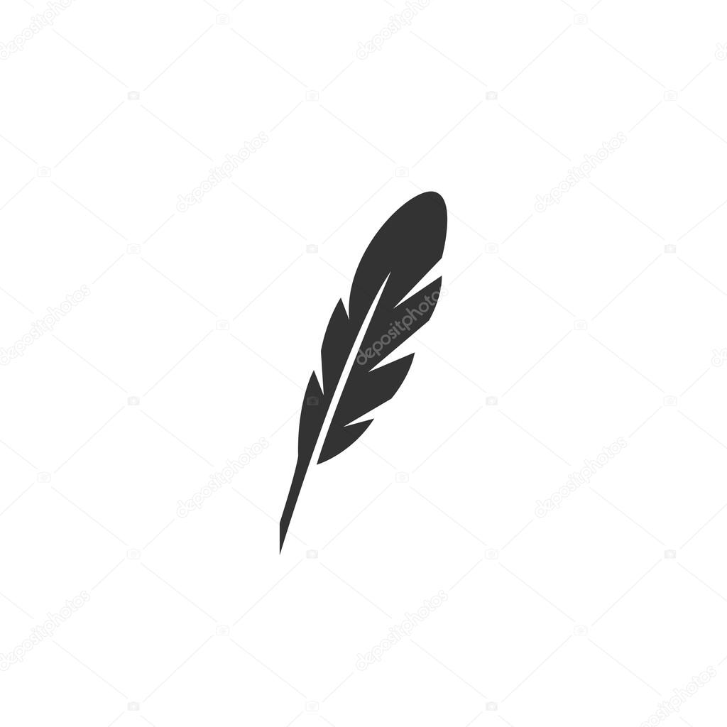 feather icon vector logo on white background ストックベクター
