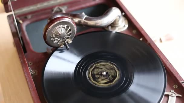 Loop schopný Vintage Video ze starý gramofon, přehrávání záznamu, zblízka - 1920 x 1080 Full Hd