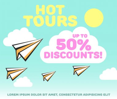 Paper planes in bright sky with clouds and sun background. Holiday, recreation, delivery service, travel tour, or discounts vector concept. Sale conception