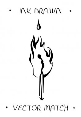Burnt match. Matchstick in fire. Ink tattoo sketch.