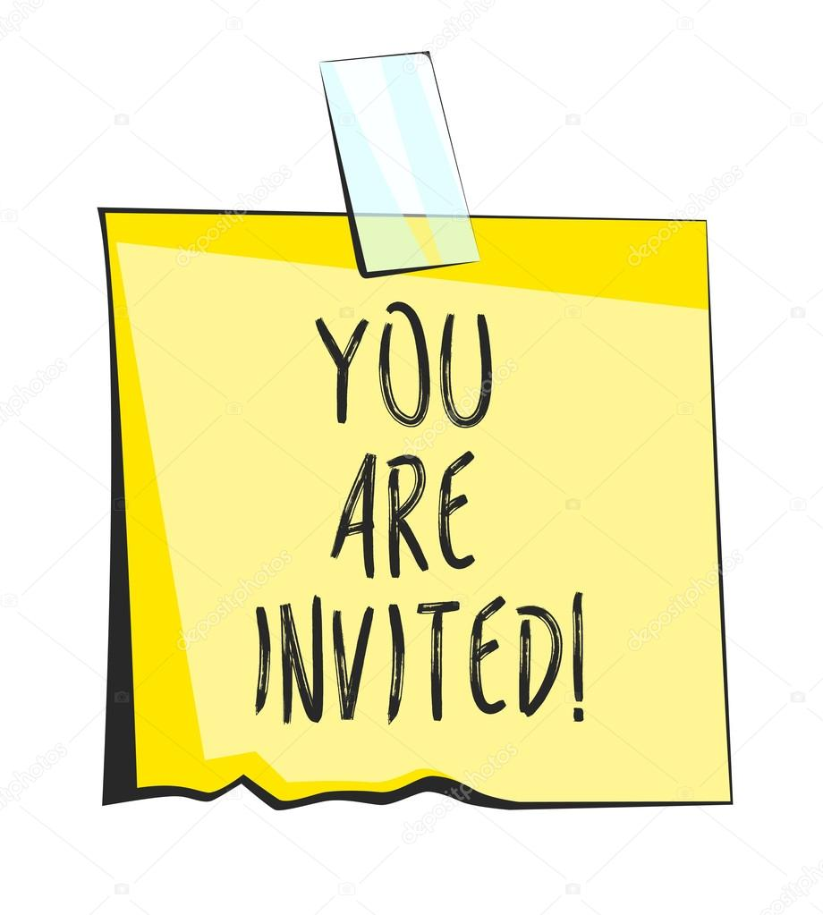 You Are Invited Paper Sticky Note. Retro Reminder Sticker