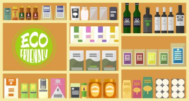 Vector flat store. Organic goods. Eco friendly sign. Full shelves of healthy products. Items set. Bottles, bags, packs and boxes. icon