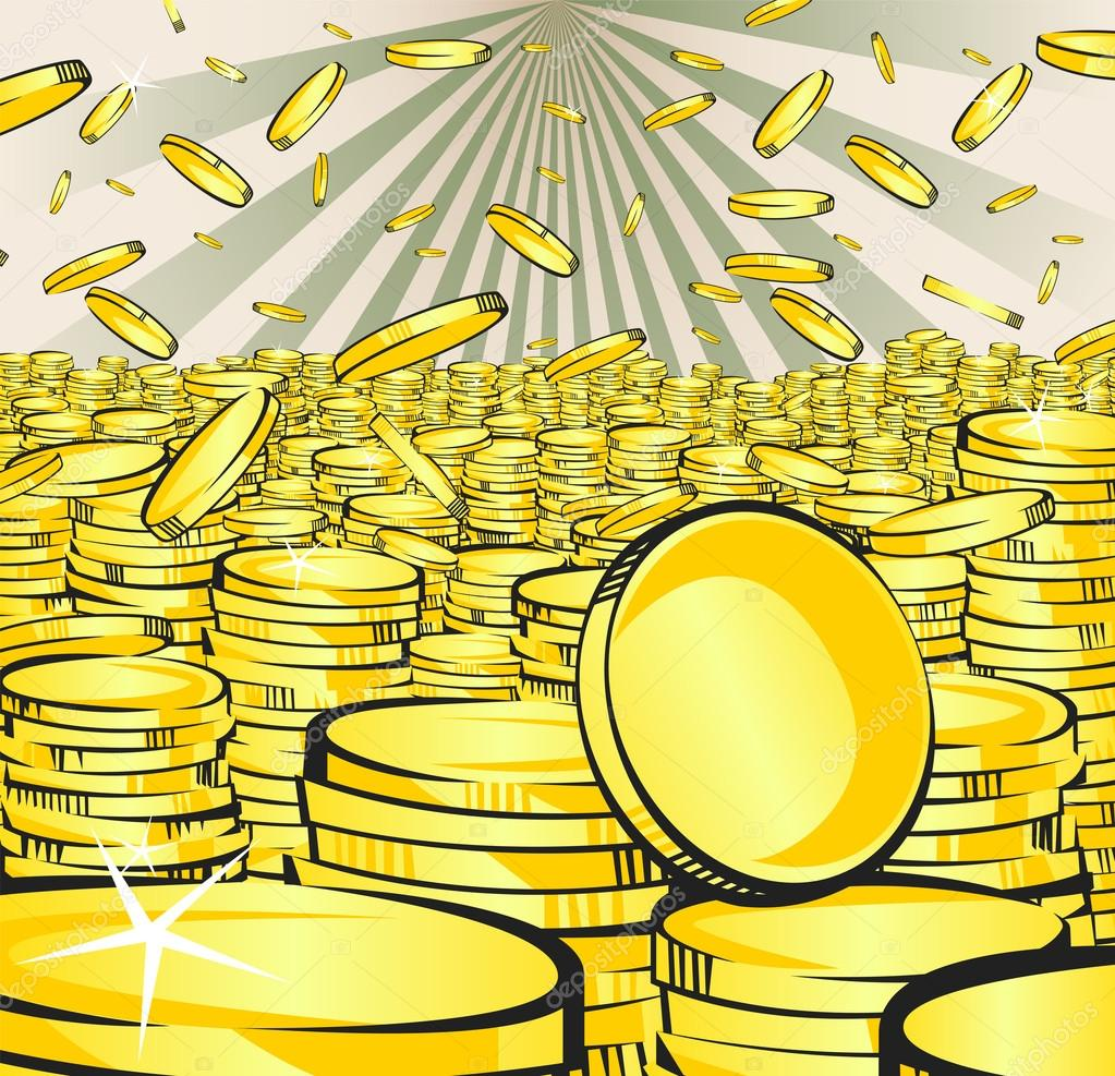 golden money rain falling gold and stacks of coins retro vector