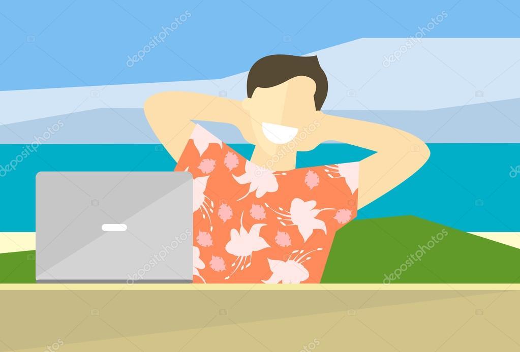 Arbeiten Auf Hawaii flache darstellung zufriedenen menschen das konzept der arbeit