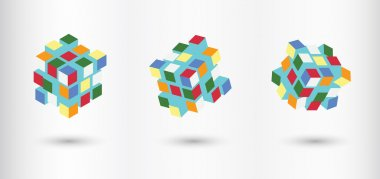Transformer Cubes Vector Set. Could Be Transformed As You Want