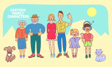 Flat design icons collection of family members avatars: mom, dad, son, daughter, grandmother, grandfather, dog and cat. Vector colorful illustrations in flat style. Full Length Characters