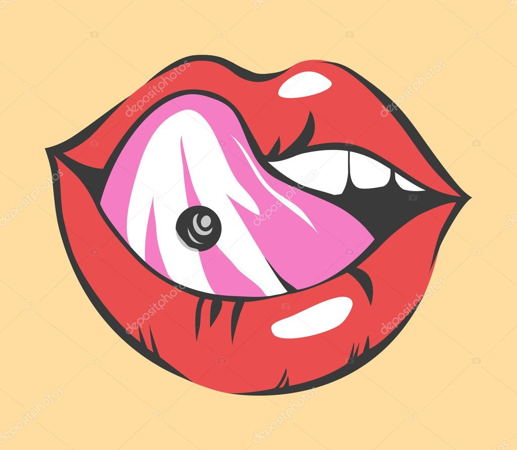 Pop Art Sexy Lips With Piercing Vector Object Stock