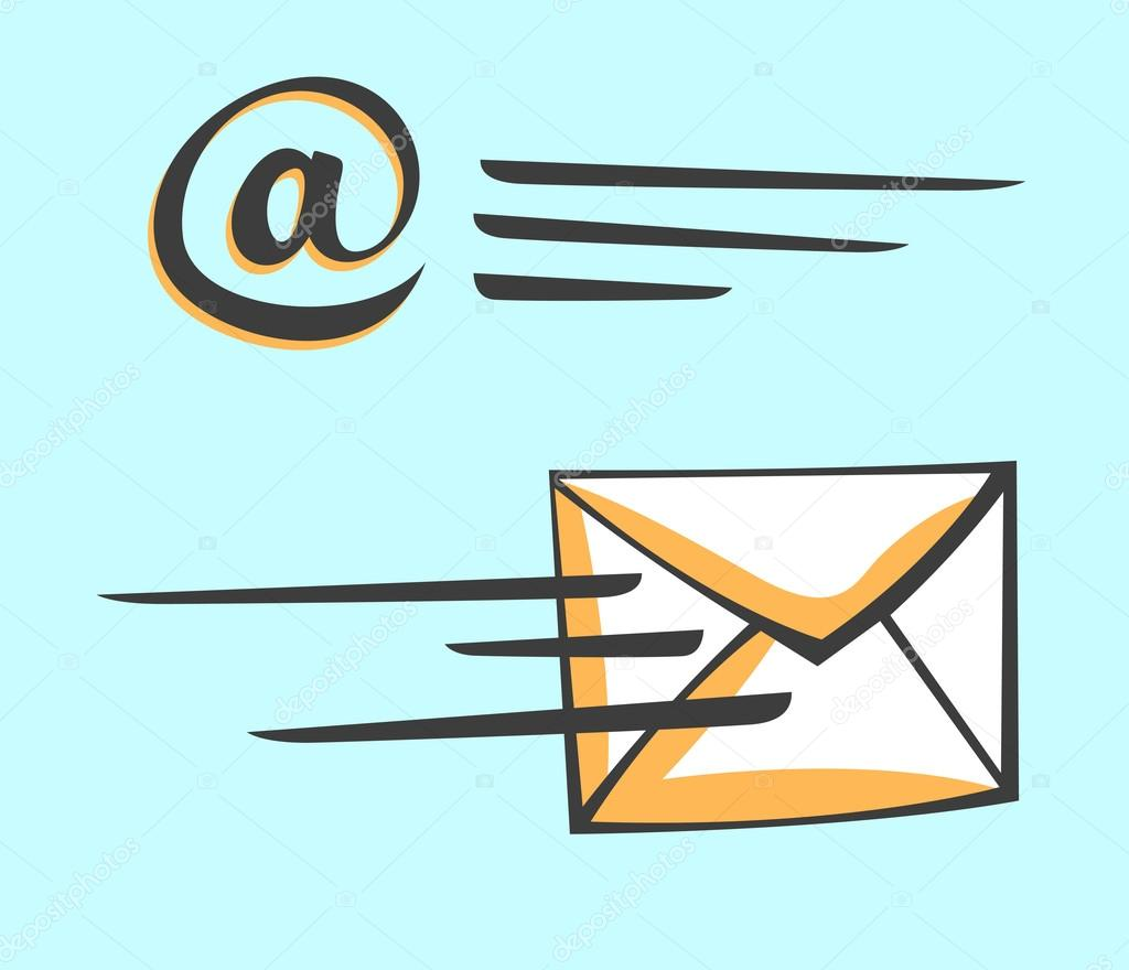 email envelope icon in a motion cartoon pop art style