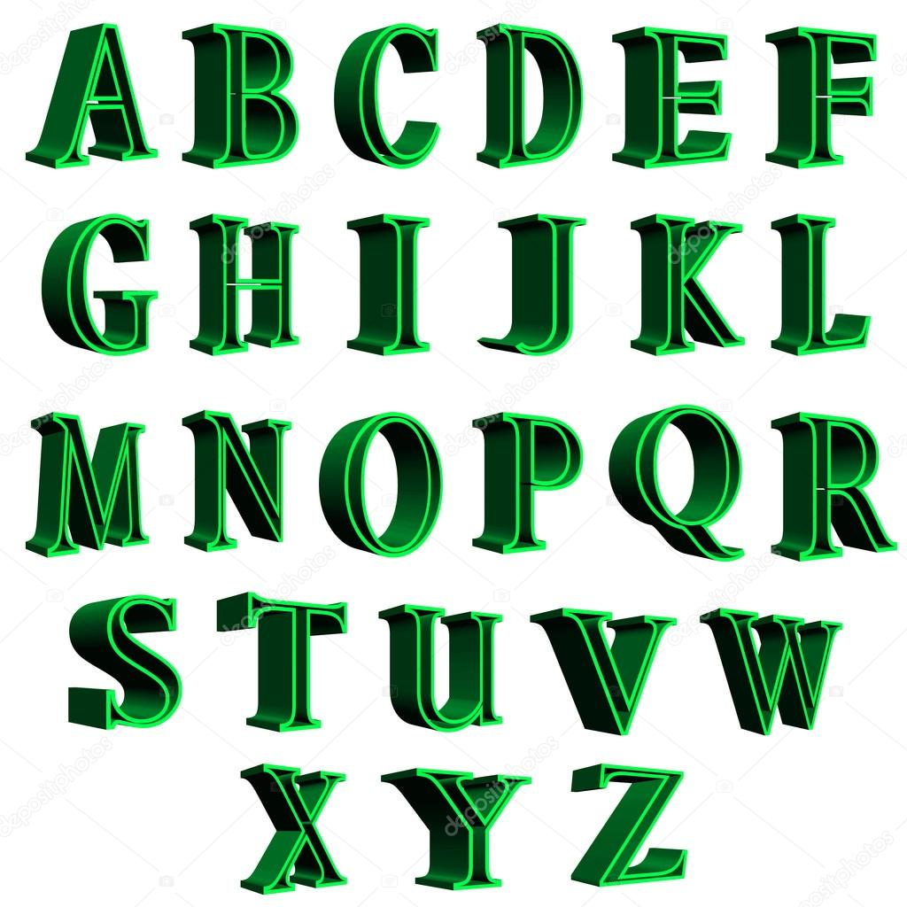 3D alphabet green letters illustration on white background — Photo by ...