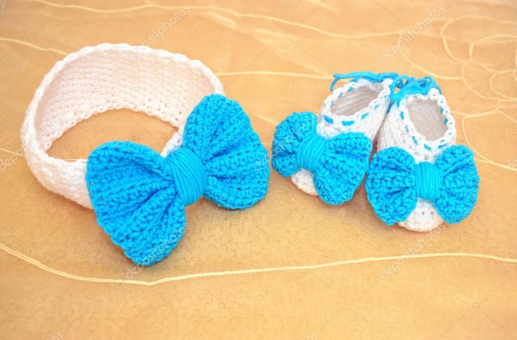 Baby Stirnband Und Schuhe Baby Dusche Vorhanden Stockfoto