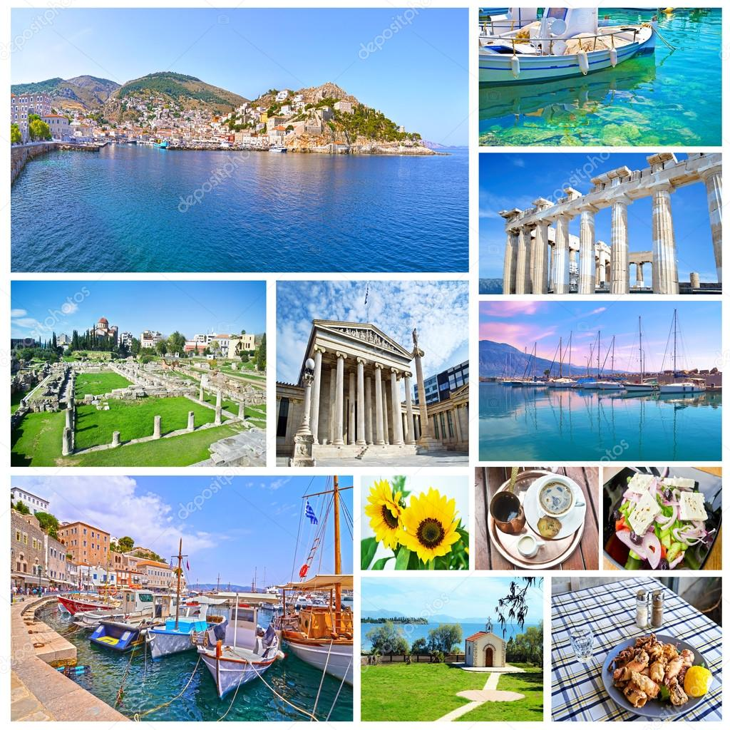 collage con fotos de grecia vacaciones lugares grecia u imagen de stock