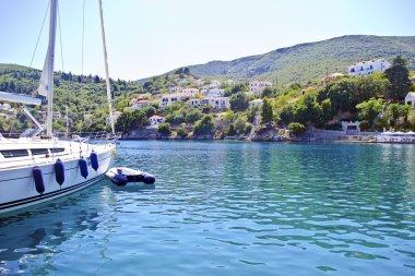 Kioni port in Ithaca Greece
