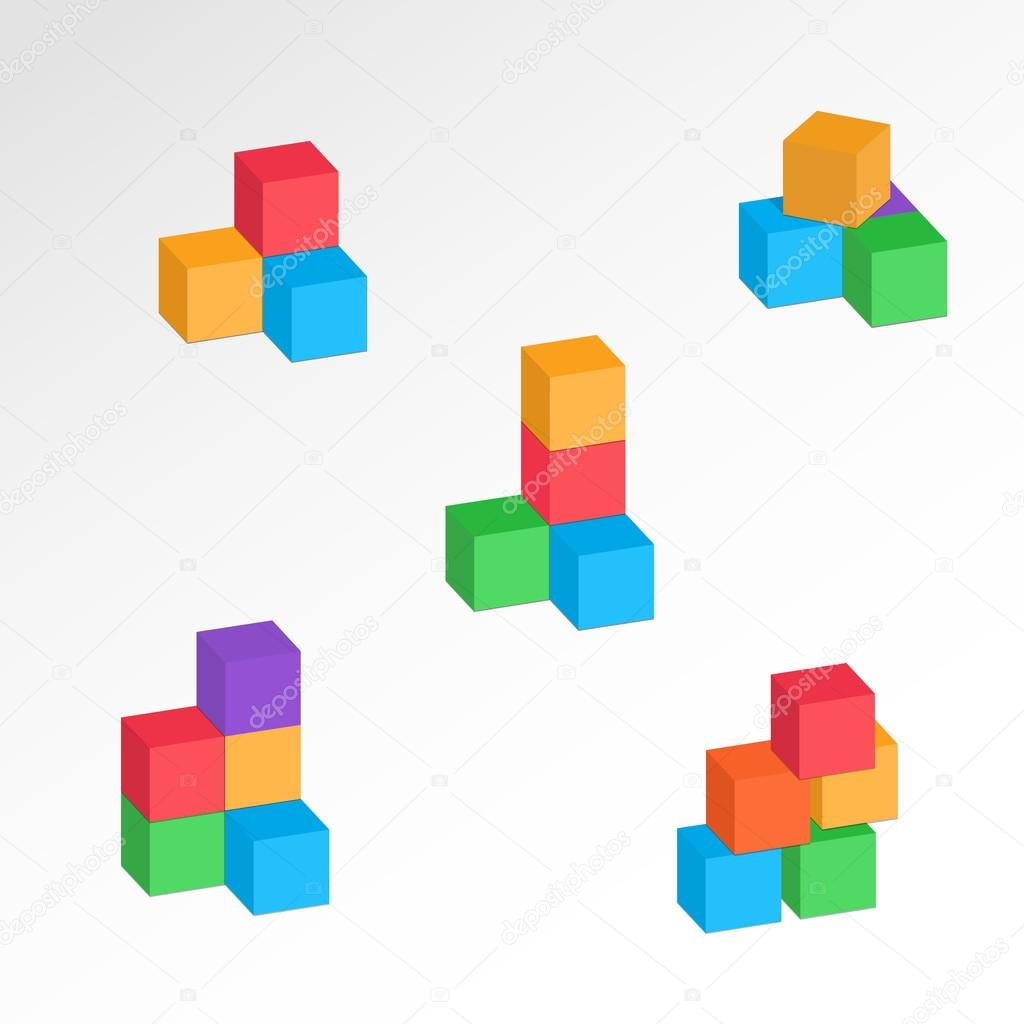 Set of 3d cube combinations compositions of tree five blocks set of 3d cube combinations compositions of tree five blocks association union ccuart Images