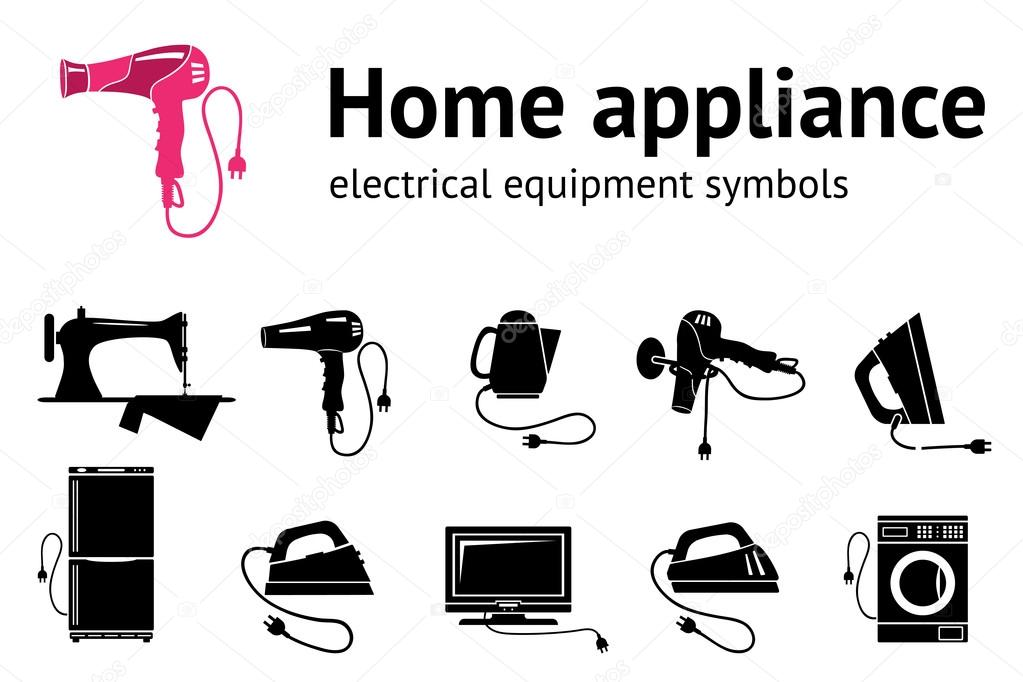 Home Electrical Appliance Icon Set Hairdryer Iron Sewing Machine