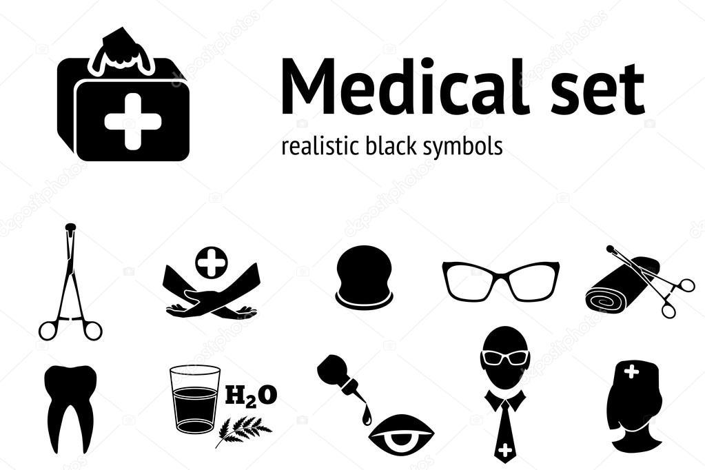 Medical Set Symbols Of Health And Medicine Black Silhouettes
