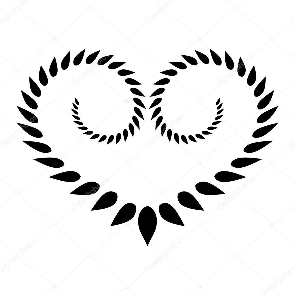Coeur Icone Couronne De Tatouage Noir Ornement Stylise Des Feuilles